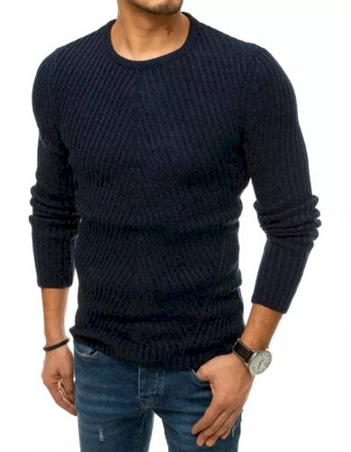 Pánský svetr oblékání přes hlavu tmavě modrý