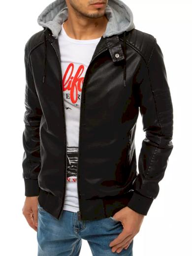 Pánská kožená bunda s odnímatelnou kapucí černá barva