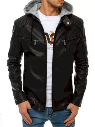 Pánská kožená bunda s odnímatelnou látkovou kapucí