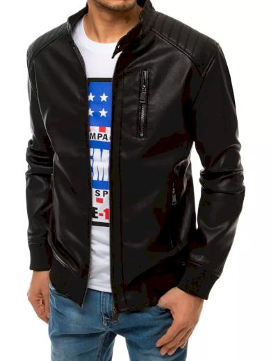 Černá pánská kožená bunda se zipem na hrudi