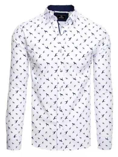 Pánská košile bílá s potiskem psů Dstreet