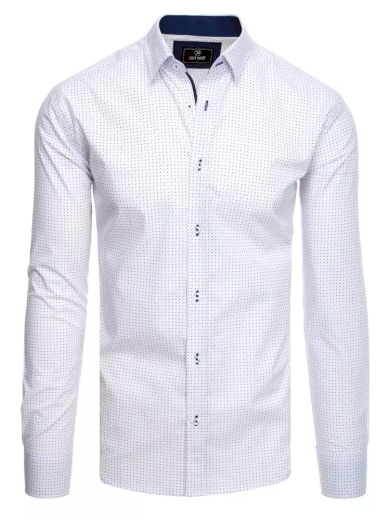 Pánská košile bílá s puntíky a hvězdami Dstreet