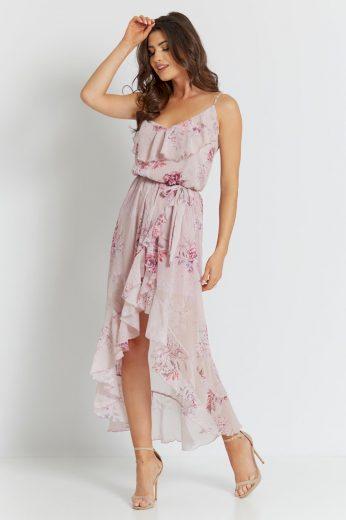 Vzdušné šaty s květy a rozparkem IVON Růžové S