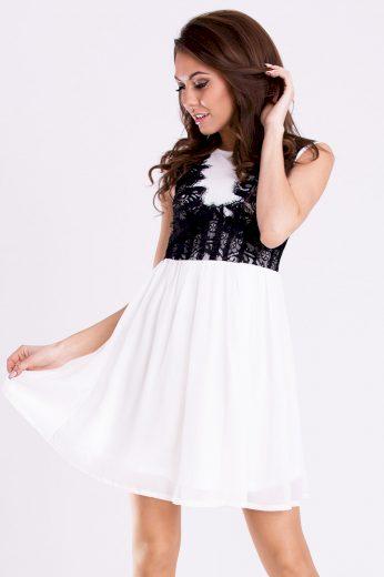 Společenské mini šaty s krajkovým topem a širokou sukní
