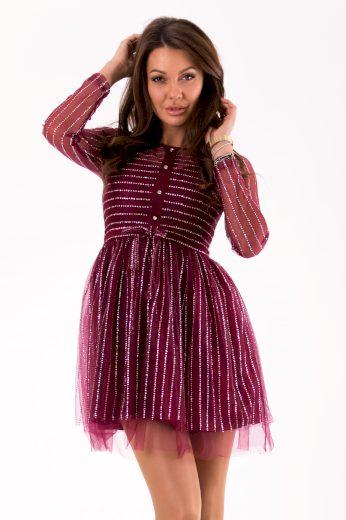 Tylové šaty krátké s dlouhými rukávy a třpytivými flitry
