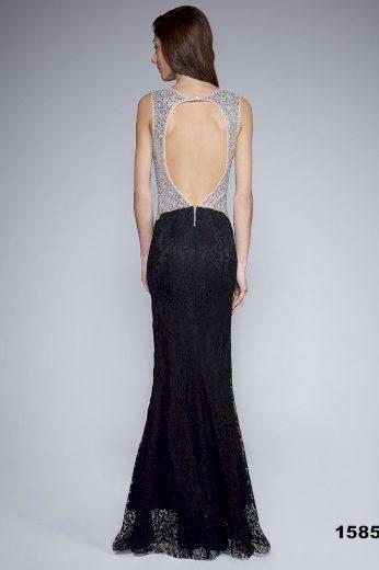 Krajkové dlouhé šaty bez rukávů s kamínky černé