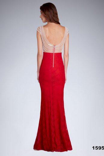 Plesové dlouhé šaty s krajkou večerní šaty s perličkami