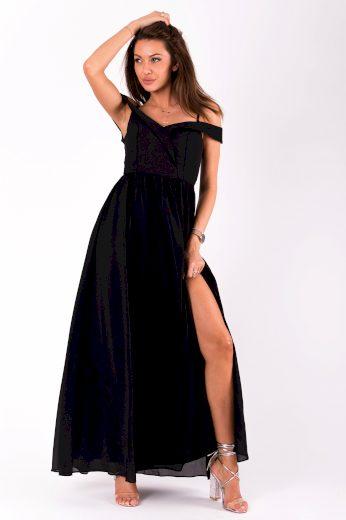 Černé společenské šaty na ramínka dlouhé s odhalenými rameny