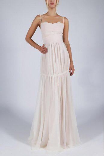 Svatební bílé šaty dlouhé na ramínka se šifonovou sukní