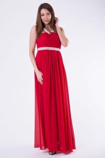 Plesové dlouhé šaty s perlovým pasem a ramínky