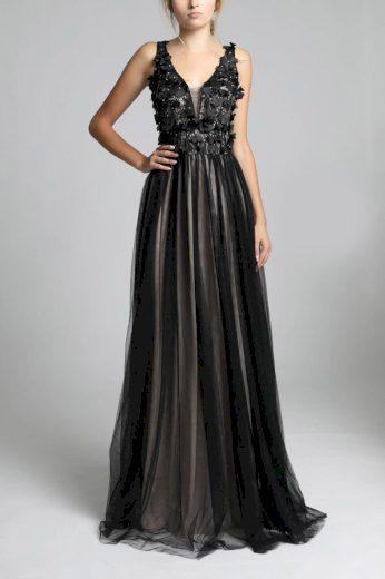 Dámské plesové šaty černé dlouhé šaty 3D aplikací