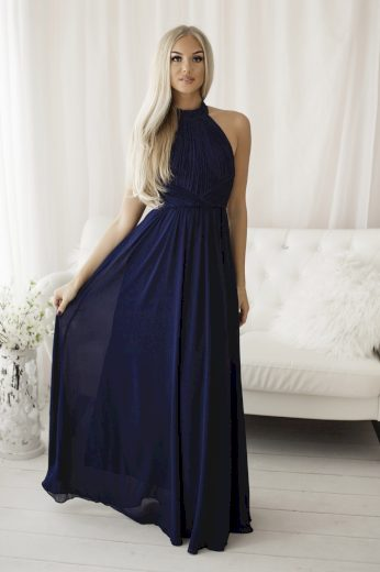Dlouhé tylové šaty společenské šaty s obojkem a odhalenými zády