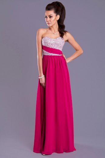 EVA & LOLA Dlouhé plesové šaty s krystaly 7816-3
