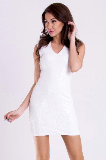 Třpytivé flitrové šaty mini šaty bez rukávů s výstřihem