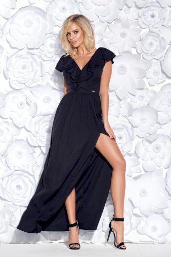 Elegantní dlouhé šaty s volánkovým výstřihem a rozparkem na noze