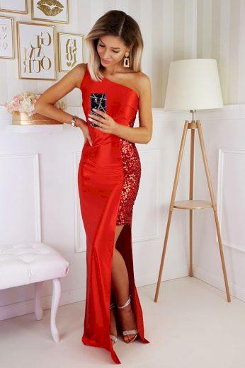 Dlouhé společenské šaty na jedno rameno z lesklého materiálu