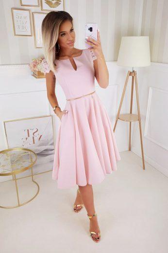 Koktejlové šaty midi společenské šaty s krajkovým krátkým rukávem