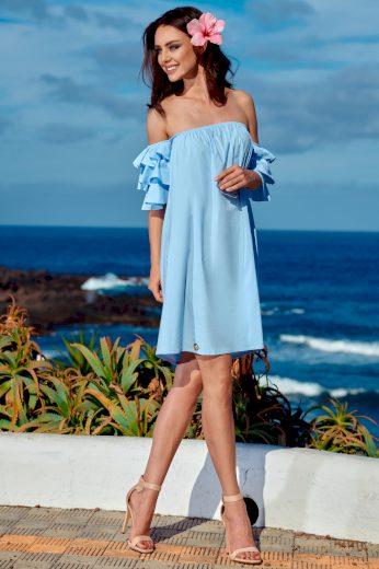 Perfektní letní šaty s odhalenými rameny a volánkovými rukávy