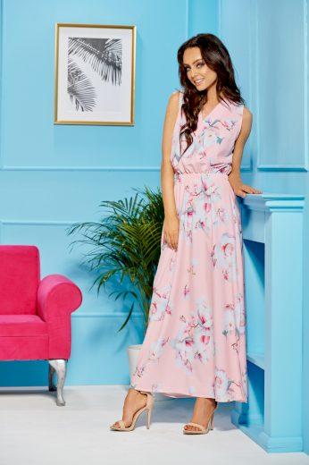Elegantní maxi šaty s výstřihem do V a květinovým vzorem