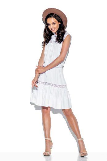 Módní bílé šaty s krajkovými vložkami a vázáním na krku