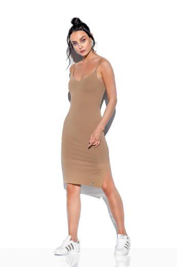 Basic bavlněné šaty na ramínka s výstřihem do V