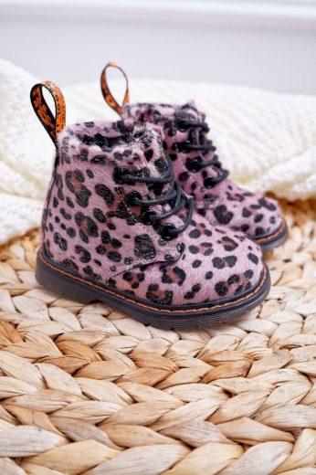 Dětské Boty Se Zipem Růžové Leopard Lilo