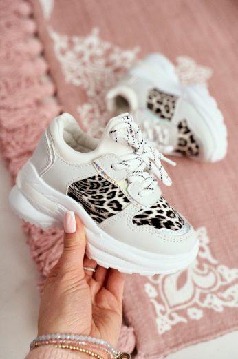 Dětská Sportovní Obuv S Leopardím Vzorem Bíle Penny