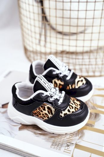 Dětská Sportovní Obuv S Leopardím Vzorem Černé Penny