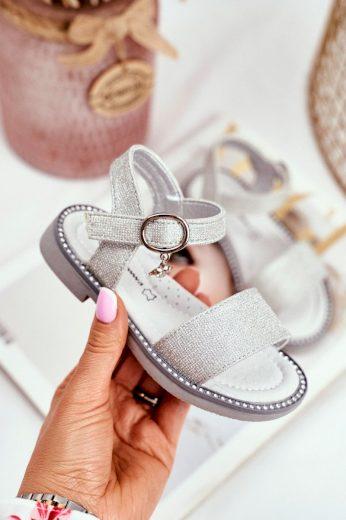 Dětské sandály se suchým zipem stříbrné Verden