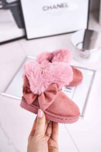 Dětské sněhule teplé s kožešinou růžové Vella