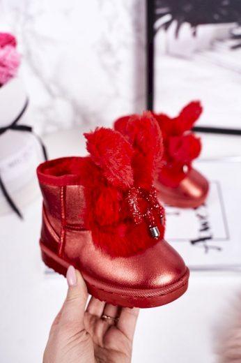 Dívčí Sněhové Teple Boty S Kožešinou S Ušima Růžové Zlato Bunny