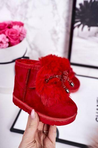 Dívčí Sněhové Teple Boty S Kožešinou Semišové červené Amelia
