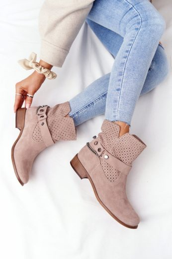 Prolamované Jarní Boty Lewski Shoes 2905-0 Béžové
