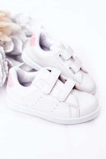 Dětské Tenisky Se Suchým Zipem Bíle-Růžové Cute Girl