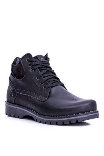 Pánské a dětské kožené vysoké boty se zipem Teplé černé Komodo 885