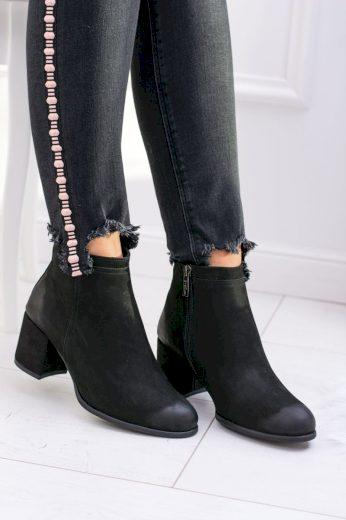 Dámské černé kožené kotníkové boty Nicole