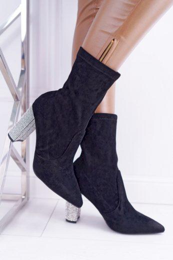 Dámské kotníkové boty černé semišové Hendo