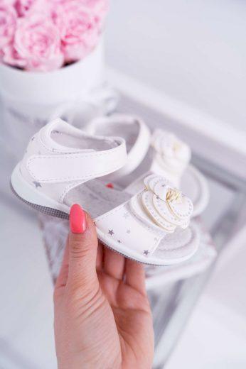 Dětská Sandály Pro holčičky Suchý Zip Bílé Flamenko