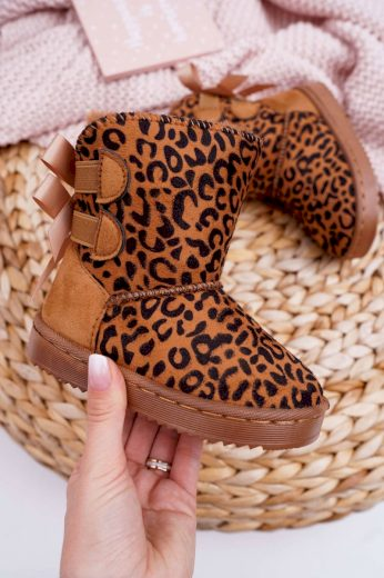 Dětské Kotníkové zimní Boty s Kožešinou Leopard Fiona