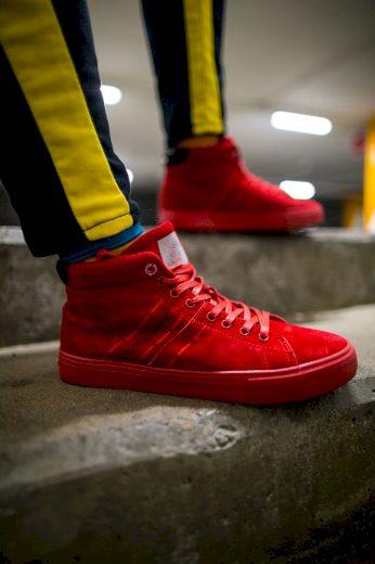 Pánské Vysoké Tenisky Cross Jeans Semišové Červené EE1R4055C