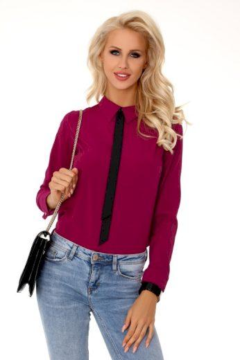 Jednobarevná dámská košile s kravatou