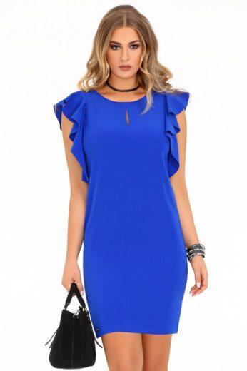 Elegantní pouzdrové šaty s krátkými volánkovými rukávy