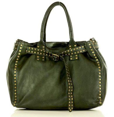 Kožená kabelka business handmade taška s tryskami italský styl