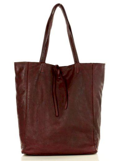 Kožená shopper kabelka se šňůrkami taška s vázáním handmade