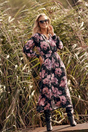 Romantické a ženské maxi šaty se zvířecím vzorem a rozparkem
