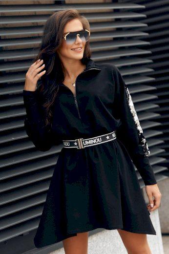 Oversize šaty se zipem s flitry a opaskem šaty se stojatým límcem