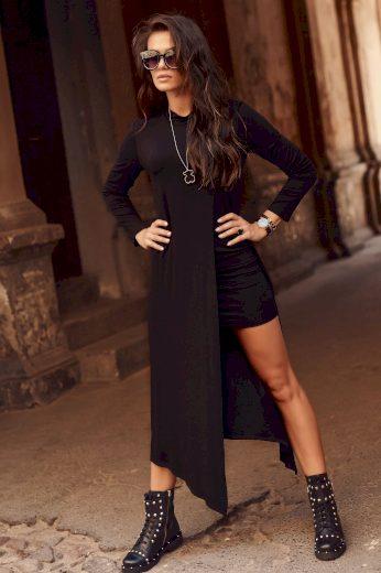 Viskózové maxi šaty s rozparkem kombinující mini a maxi délku