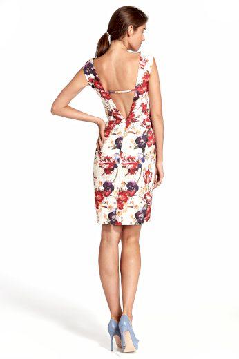 Světlé květinové šaty s hlubokým výstřihem na zádech NIFE
