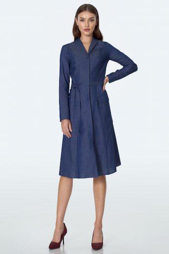 Džínové šaty denim s límcem kapsami a kravatovým páskem v pase
