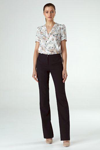 Dlouhé přiléhavé kalhoty s vysokým pasem s bočními kapsami